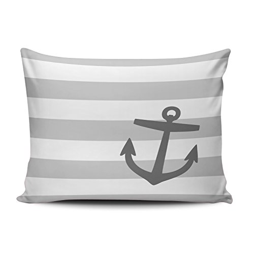SALLEING Custom Beauty Design Gray and Charcoal Nautical Stripes and Cute Anchor Decorative Pillowcase Pillowslip Throw Pillow Case Cover Zippered One Side Printed 12x20 Inches