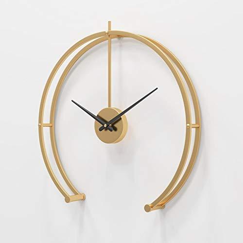 HEKRW Reloj de Pared Grande Diseño Moderno Minimalista Home Reloj Sala de Estar Dormitorio Decoración Silent Colgando Reloj 3D (Color : Gold)