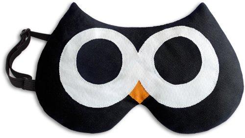 Leschi SCHLAFMASKE lichtdicht für erholsamen Schlaf/Augenmaske mit Kühlkissen/Schlafbrille kühlend und wärmend, Baumwolle/Reisegeschenk für Frauen, Kinder, Mädchen/Eule Stella, schwarz