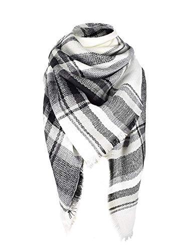 Century Star Women's Stylish Warm Tassels Soft Plaid Tartan Scarf Winter Large Blanket Wrap Shawl Black White One Size