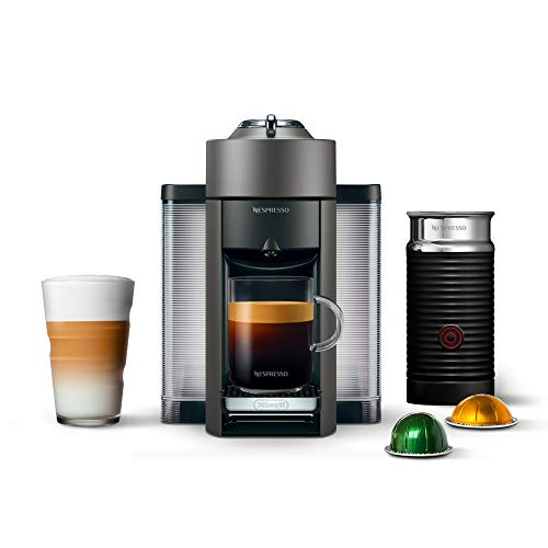 Nespresso Vertuo Coffee and Espresso Machine Bundle with Aeroccino Milk Frother by De'Longhi, Titan