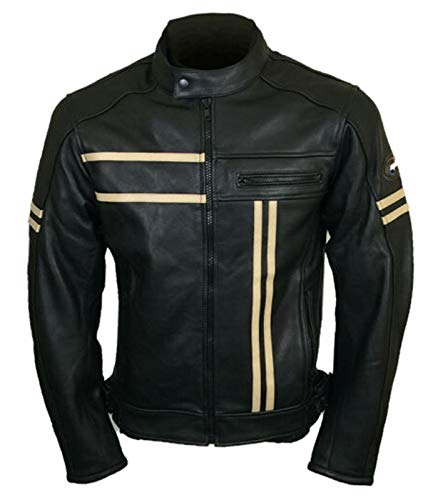Chaqueta de moto retro de piel auténtica para motociclista, estilo vintage
