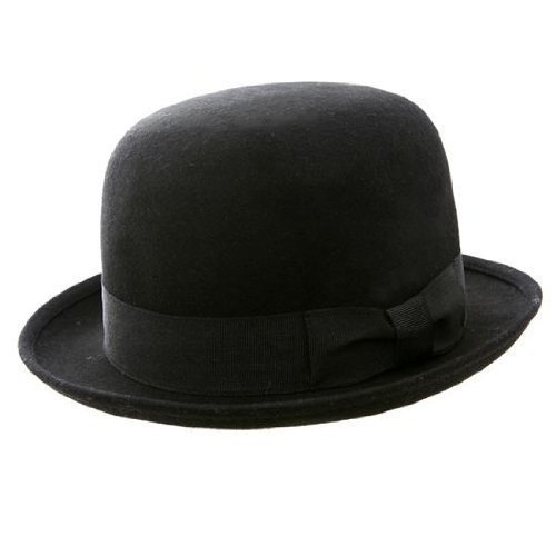 The Express -Chapeaux melon feutre laine doublure en Satin rouge - noir, 56/Small