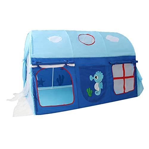 HB.YE Spielzelt Kinder Kinderzelt Spielhaus Baby Spielschloss Prinzessin Prinz drinnen draußen Kinderzimmer Blau Tunnel Zelt Deko Cartoon 145×106×96cm