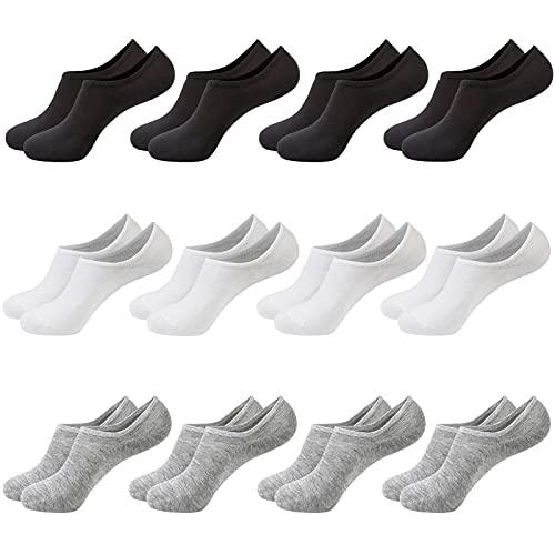 Chalier 12 Pares Calcetines Invisibles Hombre Mujer Calcetines Tobilleros Cortos Deporte Algodon Blanco Negro Gris EU39-46