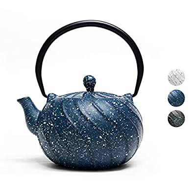 Tea Kettle, Toptier Japanese Cast Iron Teapot with Stainless Steel Infuser, Cast Iron Tea Kettle Stovetop Safe, Wave Design Teapot with Snowflake for 30 Ounce (900 ml), Navy