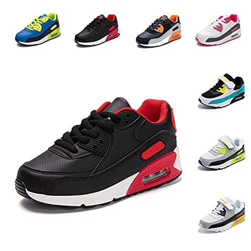Basket Enfants Fille Garçon Antidérapant Chaussures de Course Légères Chaussure de Sports Running Respirantes Lacets Sneakers Noir 28 EU