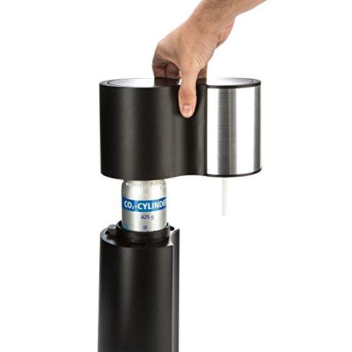 Levivo Wassersprudler Starter-Set inkl. 2 Sprudelflaschen & CO2-Zylinder 60 Liter in Weiß oder Schwarz, Schwarz - 5