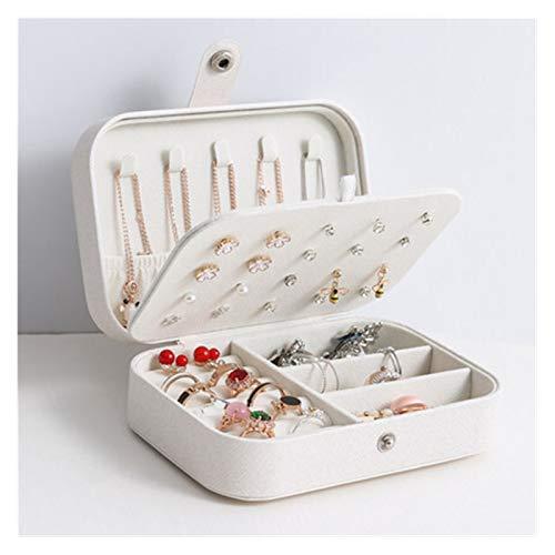 PPLAS Joyería Ataques Locked Jewelry Caja Compartimiento Joyería portátil Organizador Anillo Decoración Belleza Caja de Viaje Maquillaje Organizador (Color : White)