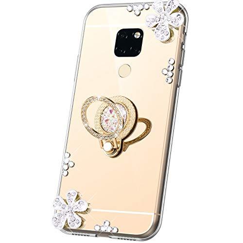 JAWSEU Compatible avec Coque Huawei Mate 20 Miroir Paillette Glitter Strass Fleur Silicone Gel TPU Etui Housse de Protection avec Diamant Support de Bague Antichoc Bumper Case,Or