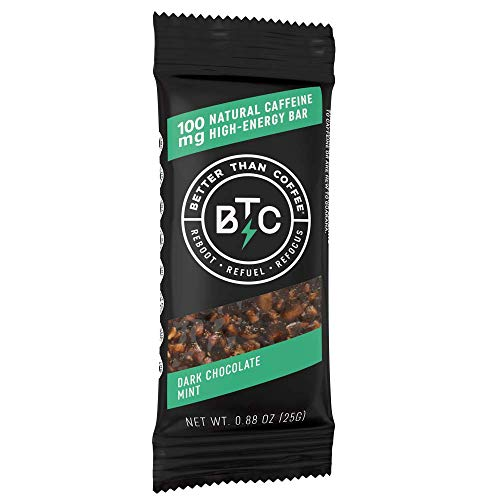 Better Than Coffee Energy Bars - Gluten Free, Vegan, Low Sugar, Low Carb with Added Plant Protein, 100 mg Caffeine Energy Bars - Dark Chocolate & Mint (12 count)