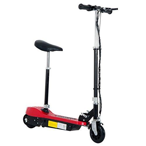 HOMCOM Elektroroller Kinder E-Scooter Kinderroller Roller mit Sitz Tretroller klappbar höhenverstellbar 120W Metall + Kunststoff Rot 76 x 38 x (80-96) cm