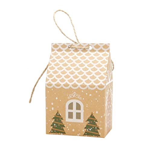 DDELLK geschenkzakjes kraftpapier, Europees kerstklein huisje mooi patroon papieren zak chocolade snoepgoed partytas fruitzak 50 stuks