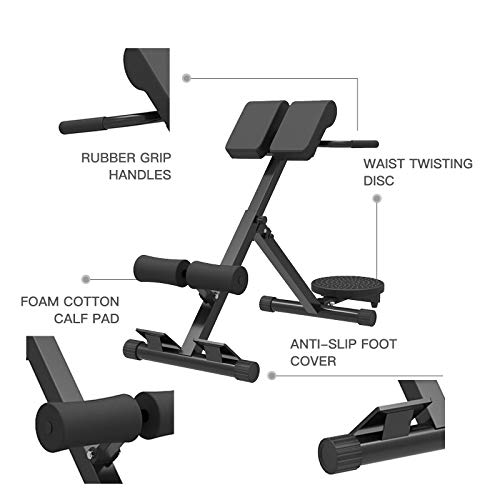 Encory Roman Chair Back Hyperextension Bench, Adjustable Strength Training Back Machines with Waist Twisting Dis for Home Gym (Black)