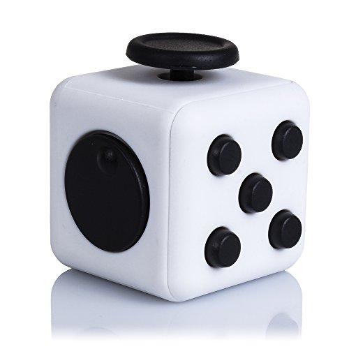 DAM-DMV094WHITEBLACK Fidget Cube Anti-Stress avec 6 Modules Relaxants Blanc Noir (DMV094WHITEBLACK)
