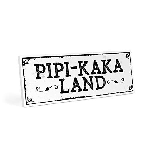 ARTFAVES Türschild mit Spruch - PIPI-Kaka-Land - Vintage Shabby Deko-Wandbild/Türschild