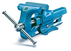 Forged steel frame bench vise 4 inch Narrow drop forged guides offers an enhanced clamping depth High quality construction ensures reliability and durability Made in Germany