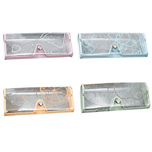 4 Piezas Fundas de Gafas Portátiles Bolsa, PU Cuero Suave Estuche Gafas Almacenaje, Estuche para Gafas de Sol, Protector de Plástico Gafas Caja, para Almacenamiento de Gafas(Cuatro Colores)