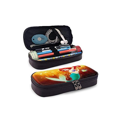 BBED Big Capacity Leather Pencil Pen Case, School Office Students Holder Box, Stationery Organizer Bag Pouch, Disney Ariel Little Mermaid Glitter Golden