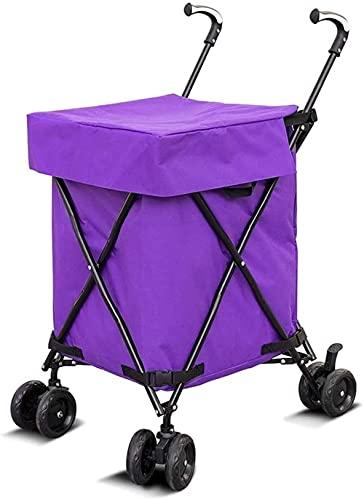 Dengbang Carro de Compras Carro de cartón Plegable, Carro de Compras con Ruedas, Caja Plegable, Carro de Caja para cobertizo de jardín, Cocina, Comprador de Almacenamiento-Purple