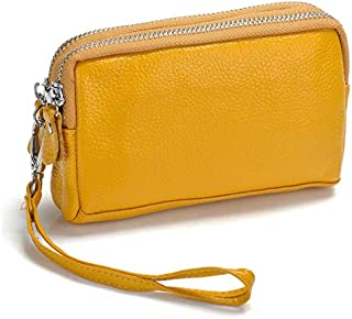 iBag's Fashion Soft Genuine Leather Ladies' Day Clutches Clutch Bags Organizer Purse Double Zippers Real Cowhide Phone Bag Wrist Bag