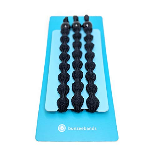 Bunzee Bands - New Performance Hair Ties. Adjustable Sizing for The Perfect Ponytail and Buns - Patent Pending [3-Pack] (BLACK)