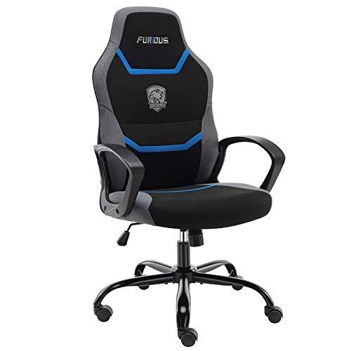 Gamingstoel, bureaustoel, ergonomische draaistoel, bureaustoel met ingebouwde lendensteun en draaibare zwenkwielen, computerstoel, blauw