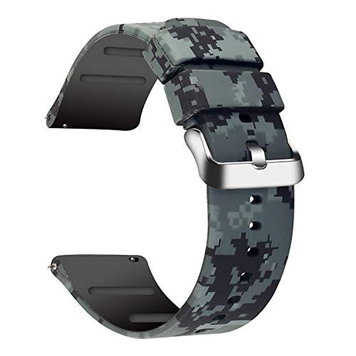 JIELIELE 20mm 22mm Watch Band for Men Women, Silicon Sports Release Replacement Smart Watch Bands, Compatible with Samsung Galaxy Active 2 / Gizmo/Garmin Vivoactive 3 (Camo, 22mm)