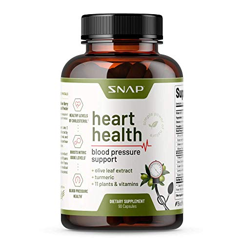 Heart Health Blood Pressure Supplement - Herbs to Lower Blood Pressure Naturally, Support Healthy Blood Circulation & Reduce Hypertension - Olive Leaf Extract, Turmeric & Other Vitamins (90 Capsules)