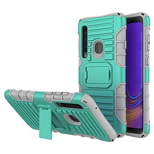 JAMMYLIZARD Cover a Tracolla Compatibile con Samsung Galaxy A9 2018 Custodia Protettiva Rigida Antiurto [Taurus] in Silicone TPU e Polimero, Verde
