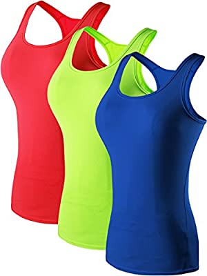 Neleus Women's 3 Pack Compression Athletic Tank Top for Yoga Running,Green,Blue,Red,EU S,US XS