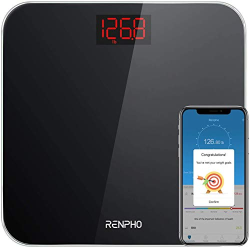 Pèse-Personne Digitale Intelligent, RENPHO Balance Connecté avec BMI, Pèse Personne Bluetooth avec Application Pour Smartphone, Affichage Lumineux, 400 lb, Noir
