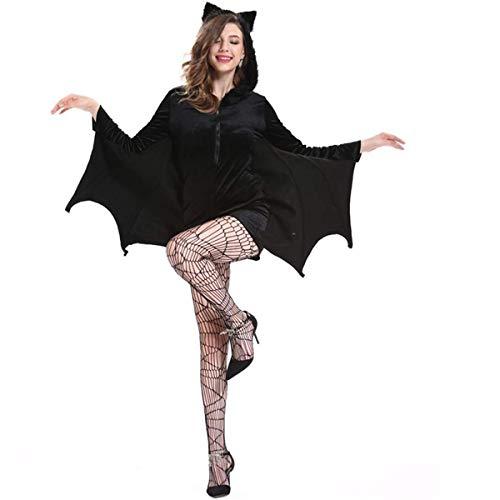 Disfraz de Halloween para Mujer, Disfraz de murciélago de Vampiro, Negro, 4XL