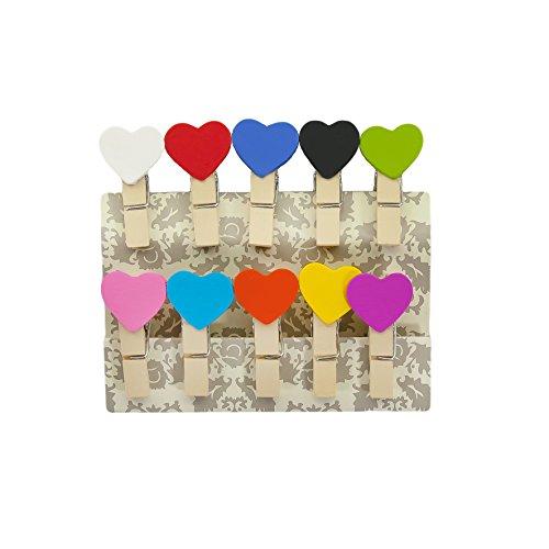 Oblique-Unique® Kleine Mini Holz Wäscheklammern Holzklammern Deko Klammern mit Motiv (Bunte Herzen)