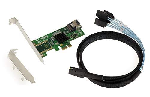 KALEA-INFORMATIQUE Scheda di espansione PCI Express 2.0-4X SATA 6G Porte. Marvell 88SE9215. con Cavi MiniSAS/SATA