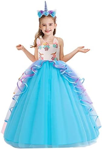 NEWEPIE Girls Unicorn Costume Pageant Princess Birthday Christmas Party Long Maxi Tulle Halloween product image