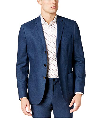 Michael Kors Mens Stretch Flannel Three Button Blazer Jacket, Blue, 42 Regular