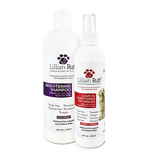 Lillian Ruff Brightening & Whitening Shampoo for Dogs – Tear Free Coconut Scent with Aloe for Dry & Sensitive Skin – Adds Shine & Luster to Coats (Brightening & Detangler Set)