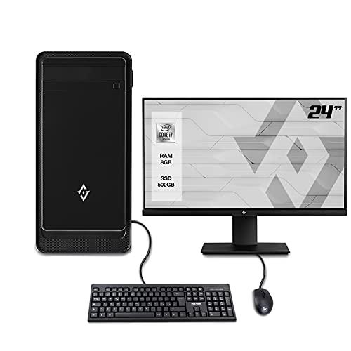 """INVENTIVE W700 - Pc fisso desktop intel i7 10700 fino a 4.80 Ghz,Ram 8Gb Ddr4,Ssd m.2 500 gb,Wifi,Monitor 24"""",Windows 10 Pro,Accessori,Computer intel 10TH assemblato completo Ufficio"""
