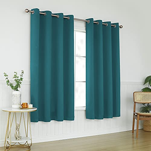 KEQIAOSUOCAI Teal Blackout Curtains 63 Inch Length for Bedroom - Grommet Room Darkening Summer Curtains Drapes Panels for Living Room School, 2 Panels, 52W x 63L