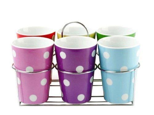Set de mugs Des ptis pois multicolores avec support (X6) Couleur Multicolore Matière Porcelaine