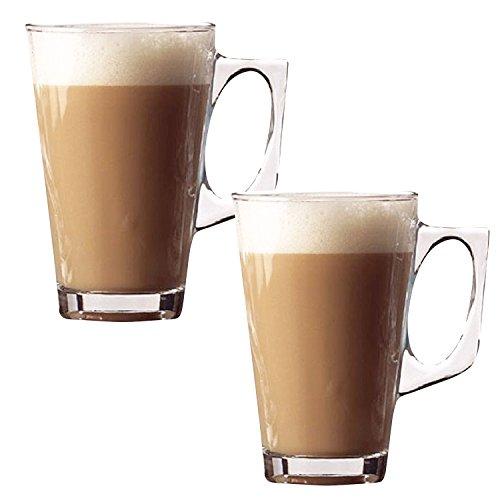 Taylor & Brown®, bicchieri in vetro da caffellatte, tè, cappuccino, tazze per bevande calde in vetro da 240ml, Vetro, 2 pezzi