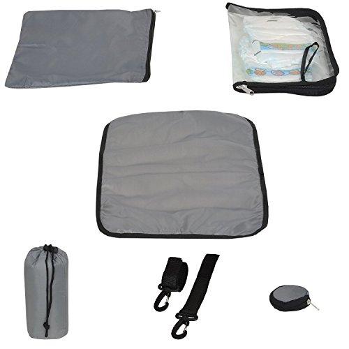 Kit à langer basique 6 pièces de la marque Keanu : matelas à langer, sac à biberon, sac à tétine, landau, poussette, mousqueton, sac à couches, sac à dos