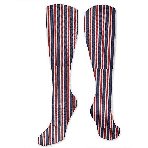 Not Applicable Unisex Socken,Rote Weiße Und Blaue Gestreifte Gewebe-Dekorative Mode-Kompressions-Socken Für Gym Biking Camping