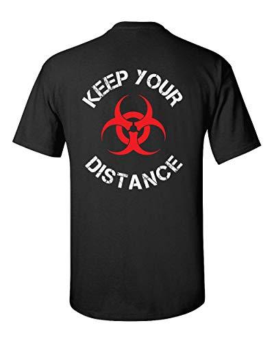 Camiseta unissex masculina virus pandemic divertida Keep Your Distance camiseta de manga curta, Preto, Large