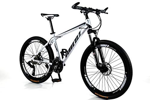 HIRUNS Aluminum Full Mountain Bike,Mens and Womens Professional 21 Speed Gears 26in Bicycle, Twist Shift, Blue and White
