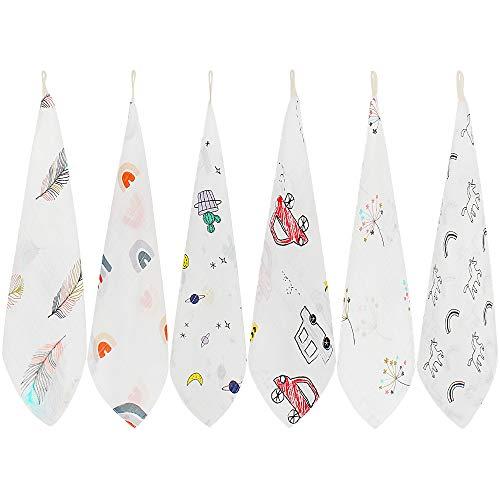 LifeTree Baby Musselin Waschlappen, 6 Stück weiche Bambus Baumwolle Baby Handtuch für Jungen und Mädchen, 27x27 cm