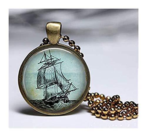 sea-maiden Altes Segelschiff Halskette Vintage Schiff Bild Anhänger Halskette reine Handarbeit Kuppel Glas Ornamente