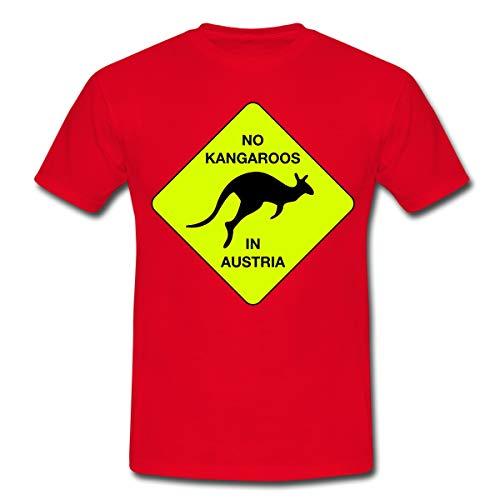 No Kangaroos in Austria Kein Kängaru in Österreich Männer T-Shirt, M, Rot