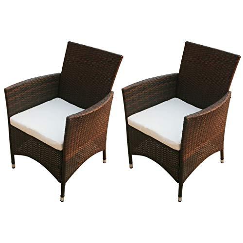 vidaXL 2X Chaise de Jardin Résine Tressée Marron Mobilier de Jardin Extérieur